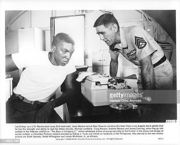 Stan Shaw is laced by Lee Ermey in a scene from the film 'The Boys in Company C' 1978