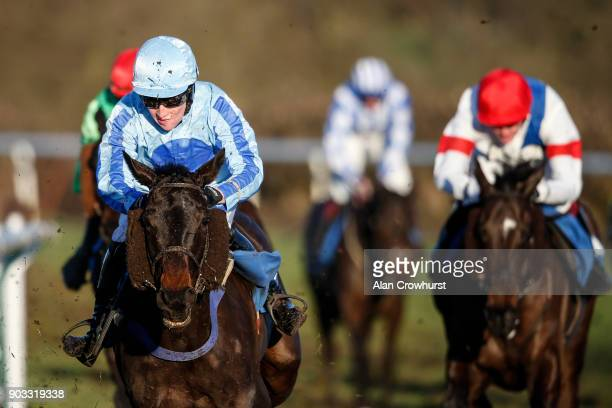 Stan Sheppard riding Tb Broke Her round the home turn before winning The Join The Henry Daly Racing Club Handicap Chase at Ludlow racecourse on...