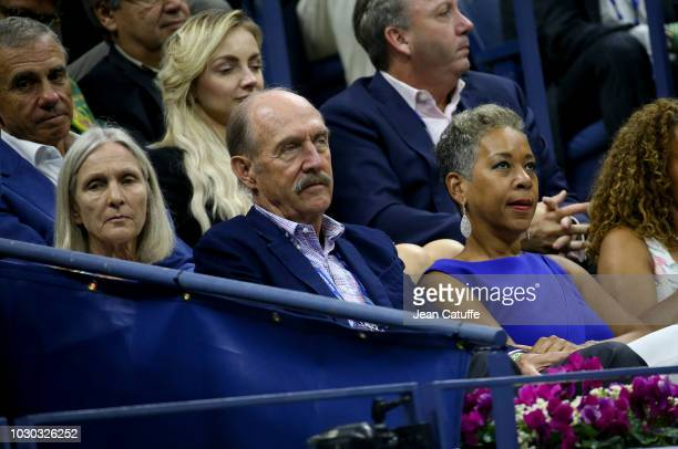 Stan Smith and his wife Marjory Gengler USTA President Katrina Adams attend the men's final on day 14 of the 2018 tennis US Open on Arthur Ashe...