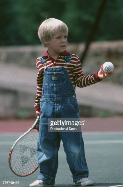 Stan Smith Jr son of American tennis player Stan Smith pictured at play on a tennis court during the Wimbledon Lawn Tennis Championships in Wimbledon...