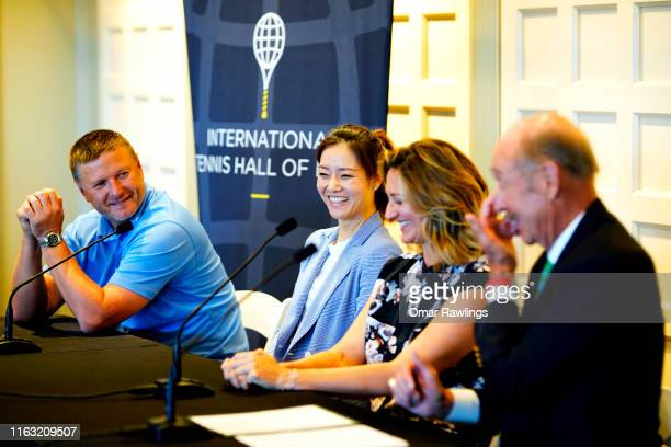 Stan Smith Mary Pierce Li Na and Yevgeny Kafelnikov react during press conference announcing the class of 2019 at the Tennis Hall of Fame on July 20...