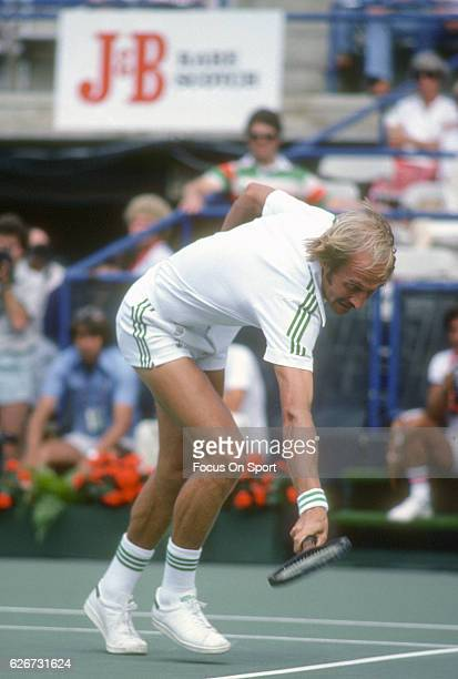 Stan Smith of the United States hits a return during the Men's 1979 US Open Tennis Championships circa 1979 at the USTA Tennis Center in the Queens...