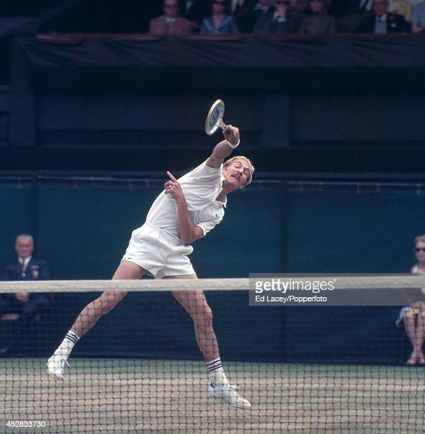 Stan Smith of the United States in action at Wimbledon 26th June 1971 Smith was defeated by John Newcombe of Australia in the Men's Singles Final in...