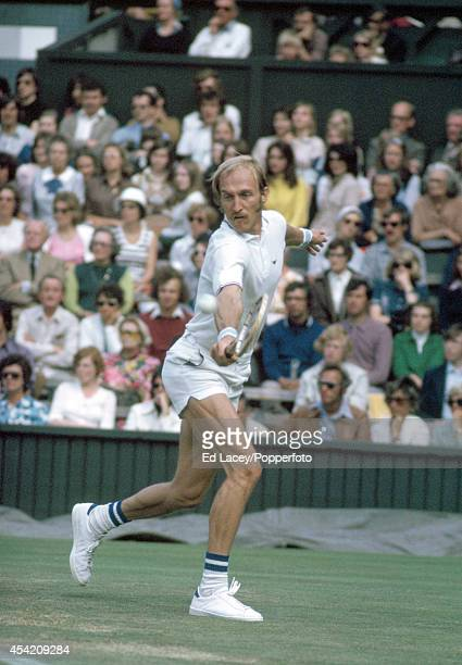 Stan Smith of the United States in action at Wimbledon on 1st July 1974. Smith, seeded fourth, lost in the Men's Singles Semi-finals in five sets to...