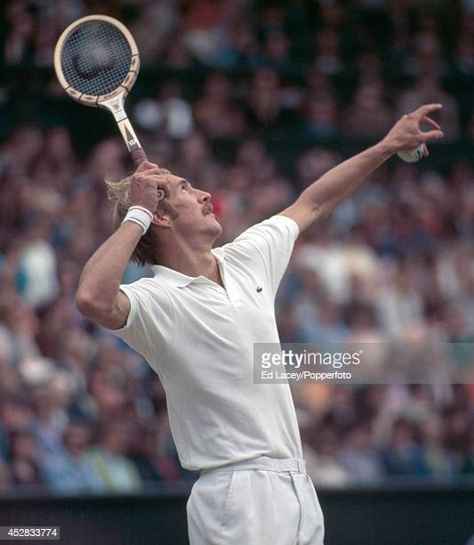 Stan Smith of the United States in action at Wimbledon on 26th June 1971 Smith was defeated in the Men's Singles Final by John Newcombe of Australia...
