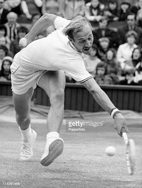 Stan Smith of the USA on his way to defeating Ilie Nastase in the men's final on Centre Court at Wimbledon on 10th July 1972 Smith won 46 63 63 46 75