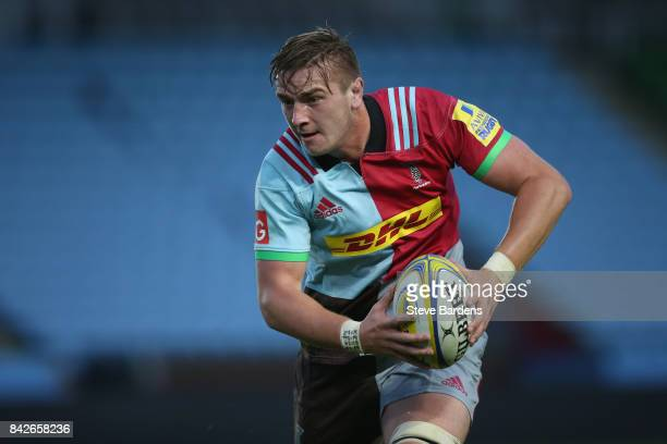 Stan South of Harlequins A in action during the Aviva A League match between Harlequins A and Exeter Braves at Twickenham Stoop on September 4 2017...