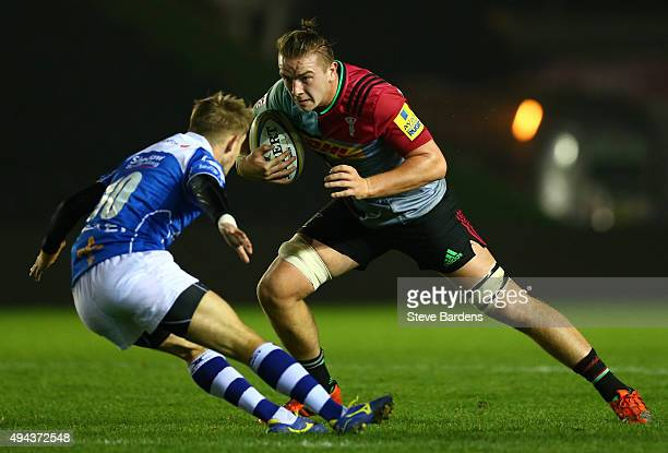 Stan South of Harlequins in action during the match between Harlequins and Newport Gwent Dragons at Twickenham Stoop on October 26 2015 in London...