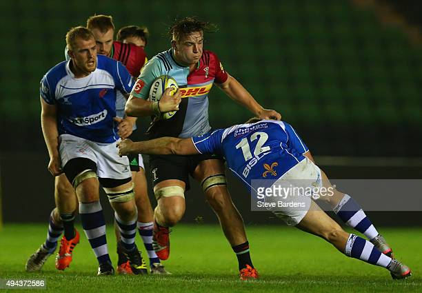 Stan South of Harlequins in action during the match between Harlequins and Newport Gwent Dragons at Twickenham Stoop on October 26, 2015 in London,...