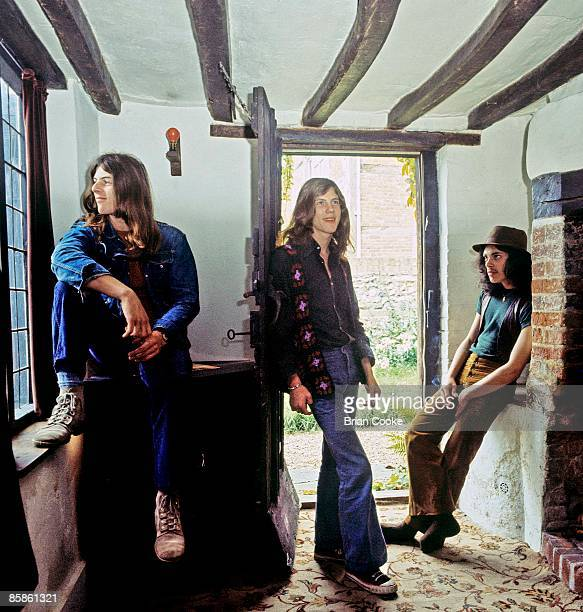 Stan Speake Adrian Fisher Andy Fraser posed group shot at Andy Fraser's home in Horsell Nr Woking on August 18 1971