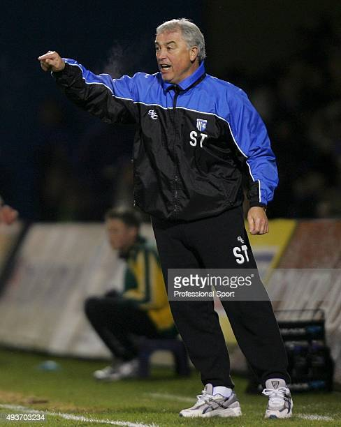 Stan Ternent manager of Gillingham looks on during the CocaCola Championship match between Gillingham and West Ham United at the Priestfield Stadium...
