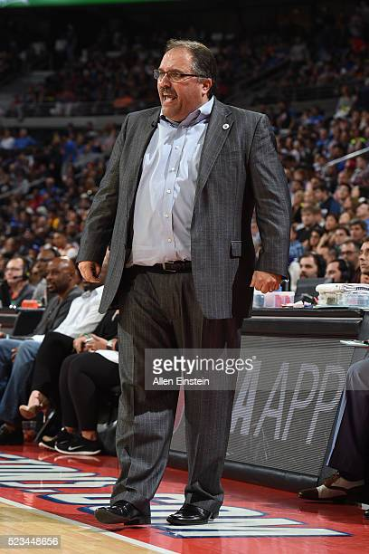 Stan Van Gundy of the Detroit Pistons coaches during the Round One of the 2016 NBA Playoffs against the Cleveland Cavaliers on April 22 2016 at The...