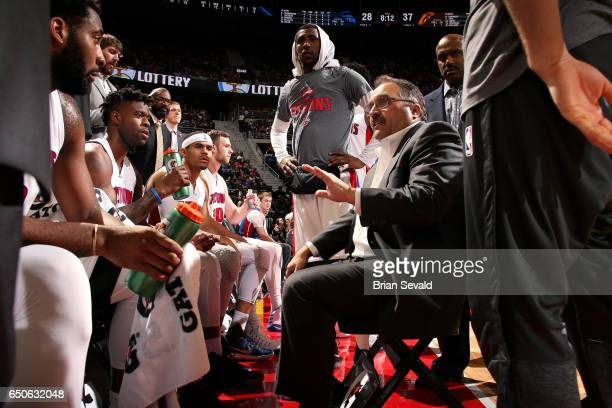 Stan Van Gundy of the Detroit Pistons coaches his team during the game against the Cleveland Cavaliers on March 9 2017 at The Palace of Auburn Hills...