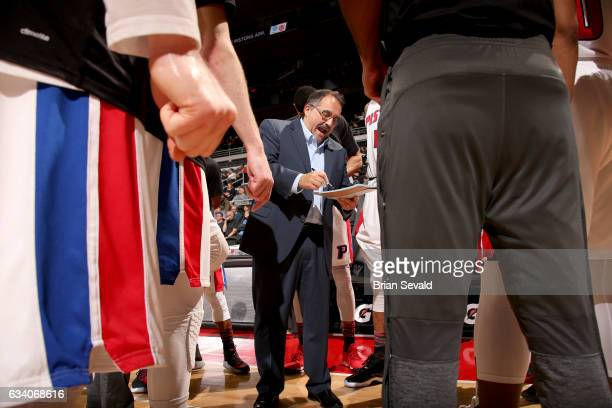 Stan Van Gundy of the Detroit Pistons draws the play during the game against the Philadelphia 76ers on February 6 2017 at The Palace of Auburn Hills...