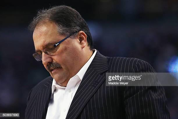 Stan Van Gundy of the Detroit Pistons looks on during the second quarter against the Boston Celtics at TD Garden on January 6 2016 in Boston...