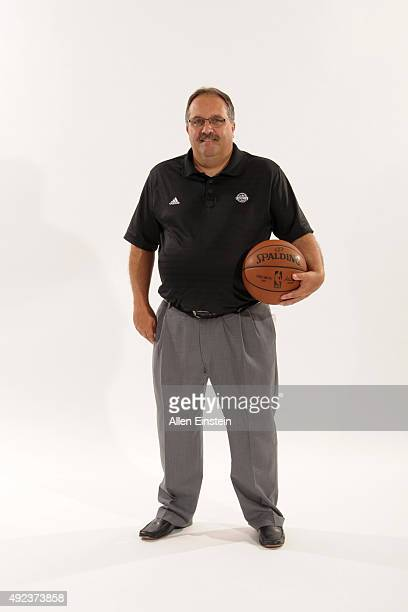 Stan Van Gundy of the Detroit Pistons poses during media day on September 28 2015 at The Palace of Auburn Hills in Auburn Hills Michigan NOTE TO USER...