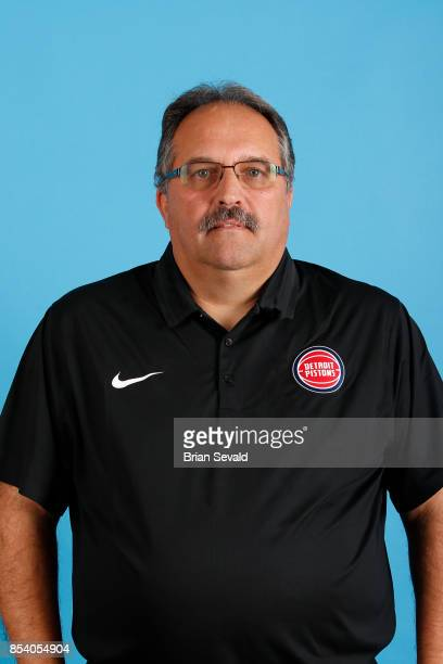 Stan Van Gundy of the Detroit Pistons poses for a head shot during media day at Little Caesars Arena in Detroit Michigan on September 25 2017 NOTE TO...