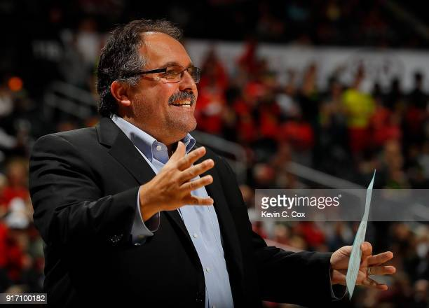 Stan Van Gundy of the Detroit Pistons reacts during the game against the Atlanta Hawks at Philips Arena on February 11 2018 in Atlanta Georgia NOTE...