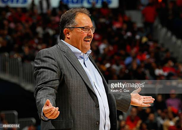 Stan Van Gundy of the Detroit Pistons reacts to a call during the game against the Atlanta Hawks at Philips Arena on October 27 2015 in Atlanta...