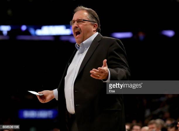 Stan Van Gundy of the Detroit Pistons reacts to a call in the first quarter against the New York Knicks at Madison Square Garden on March 27 2017 in...