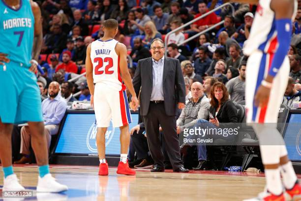 Stan Van Gundy of the Detroit Pistons smiles during the game against the Charlotte Hornets at the Little Caesars Arena in Detroit Michigan on October...