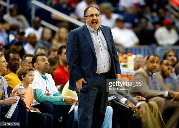 Stan Van Gundy of the Detroit Pistons stands on the court during a game against the New Orleans Pelicans at the Smoothie King Center on March 1 2017...