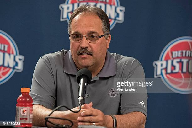 Stan Van Gundy of the Detroit Pistons talks to the media during a press conference on July 8 2016 at the Palace of Auburn Hills in Auburn Hills...
