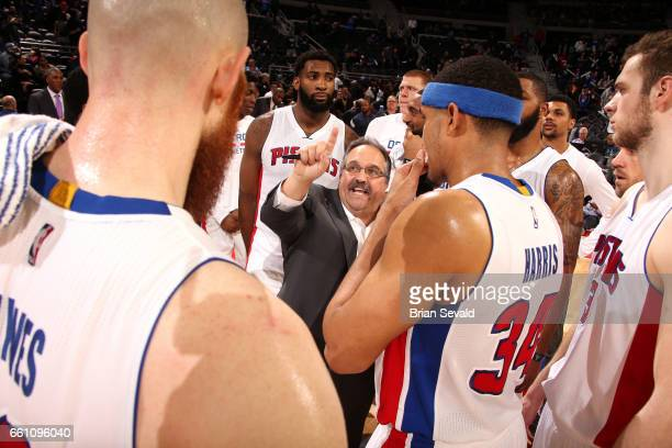 Stan Van Gundy of the Detroit Pistons talks with his team during the game against the Brooklyn Nets on March 30 2017 at The Palace of Auburn Hills in...