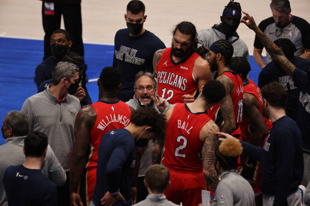 Stan Van Gundy of the New Orleans Pelicans in the first quarter at American Airlines Center on February 12, 2021 in Dallas, Texas. NOTE TO USER: User...