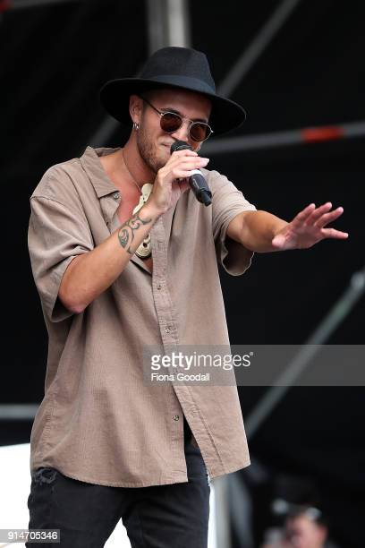 Stan Walker performs at Hoani Waititi Marae on February 6 2018 in Auckland New Zealand The Waitangi Day national holiday celebrates the signing of...