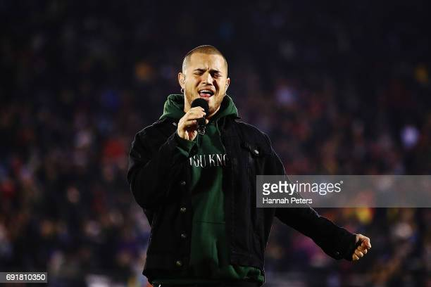 Stan Walker performs during the match between the New Zealand Provincial Barbarians and British Irish Lions at Toll Stadium on June 3 2017 in...