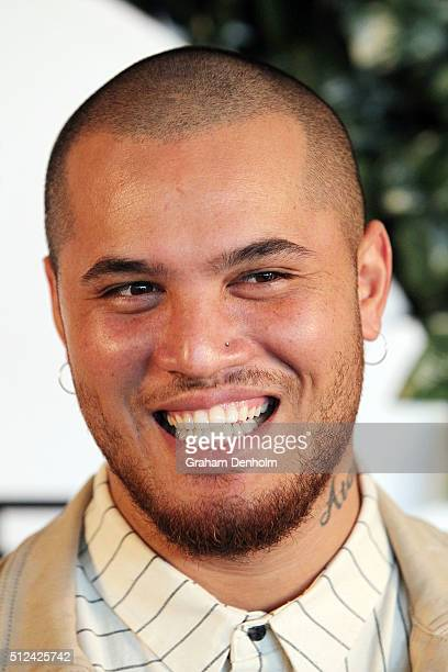 Stan Walker poses as he arrives for Change The Game A Thankyou Gala on February 26 2016 in Melbourne Australia