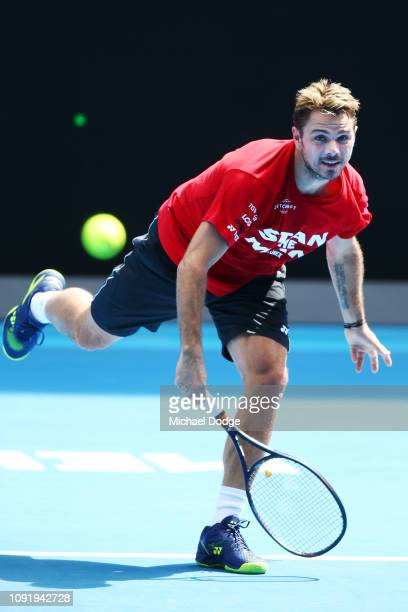 Stan Warwinka of Switzerland serves during a practice session ahead of the 2019 Australian Open at Melbourne Park on January 10 2019 in Melbourne...