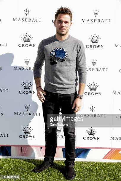 Stan Wawrinka arrives ahead of the 2018 Crown IMG Tennis Player at Crown Palladium on January 14 2018 in Melbourne Australia
