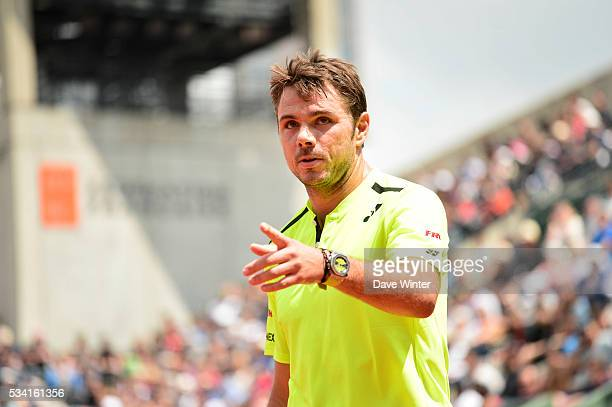 Stan Wawrinka during the Men's Singles second round on day four of the French Open 2016 at Roland Garros on May 25 2016 in Paris France
