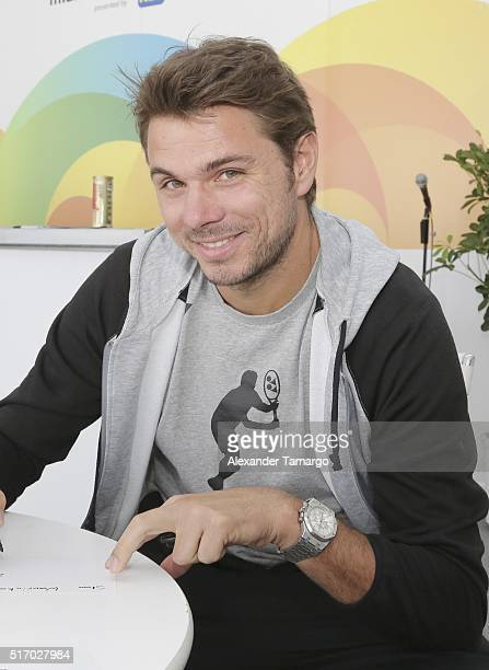 Stan Wawrinka is seen during the Miami Open Media Day at Crandon Park Tennis Center on March 22 2016 in Key Biscayne Florida
