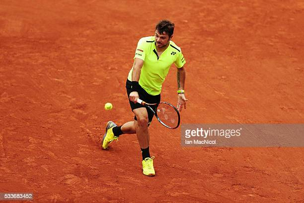 Stan Wawrinka of Switzeland competes against Lukas Rosol of Czech Republic during day two of The French Open at Roland Garros on May 23 2016 in Paris...