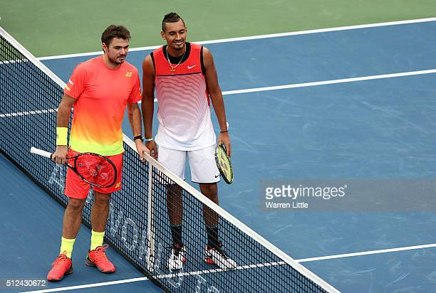Stan Wawrinka of Switzerland and Nick Kyrgios of Australia pose ahead of their semi final match on day seven of the ATP Dubai Duty Free Tennis...