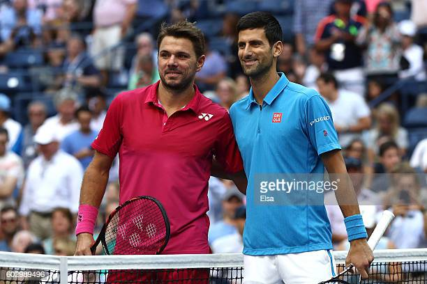 Stan Wawrinka of Switzerland and Novak Djokovic of Serbia pose prior to their Men's Singles Final Match on Day Fourteen of the 2016 US Open at the...