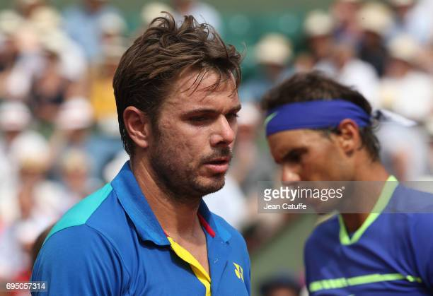 Stan Wawrinka of Switzerland and Rafael Nadal of Spain during the men's final on day 15 of the 2017 French Open, second Grand Slam of the season at...