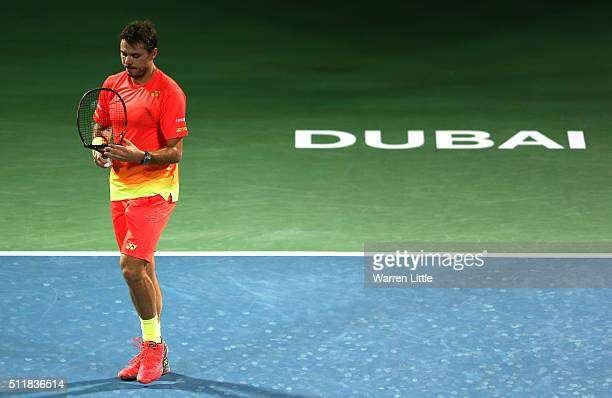 Stan Wawrinka of Switzerland breaks his racket in his match against Sergiy Stakhovsky of Ukraine during day four of the ATP Dubai Duty Free Tennis...