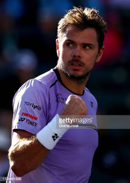 Stan Wawrinka of Switzerland celebrates a point against Dan Evans of Great Britain during their men's singles first round match on day five of the...
