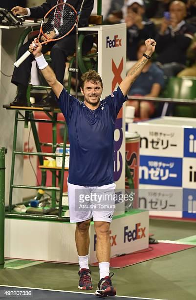 Stan Wawrinka of Switzerland celebrates after winning the men's singles final match against Benoit Paire of France on Day Seven of the Rakuten Open...