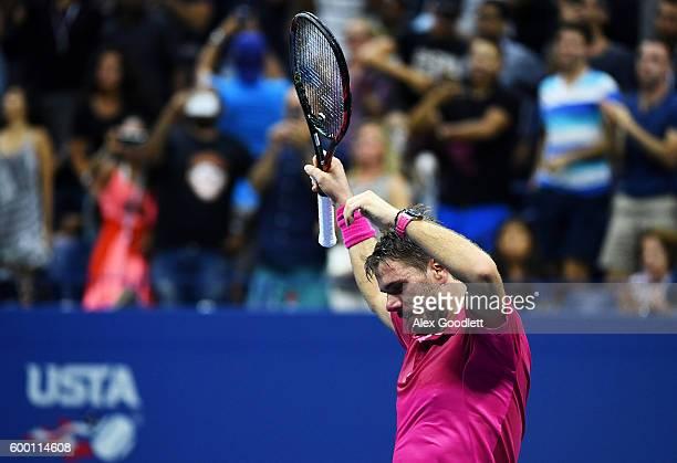 Stan Wawrinka of Switzerland celebrates defeating Juan Martin del Potro of Argentina during their Men's Singles Quarterfinals Match on Day Ten of the...