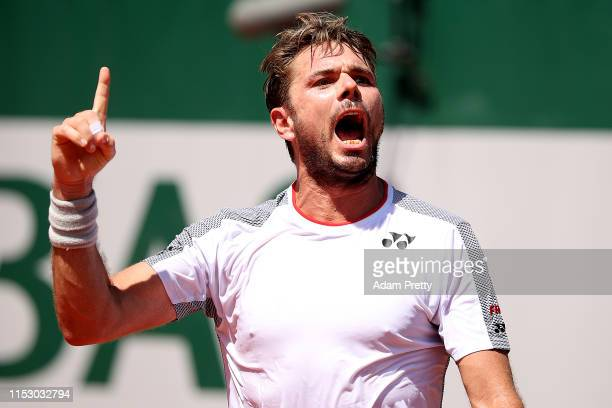 Stan Wawrinka of Switzerland celebrates during his mens singles third round match against Grigor Dimitrov of Bulgaria during Day seven of the 2019...
