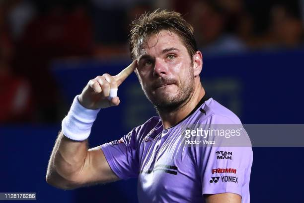 Stan Wawrinka of Switzerland celebrates during the quarterfinals match against Nick Kyrgios of Australia as part of the day 4 of the Telcel Mexican...