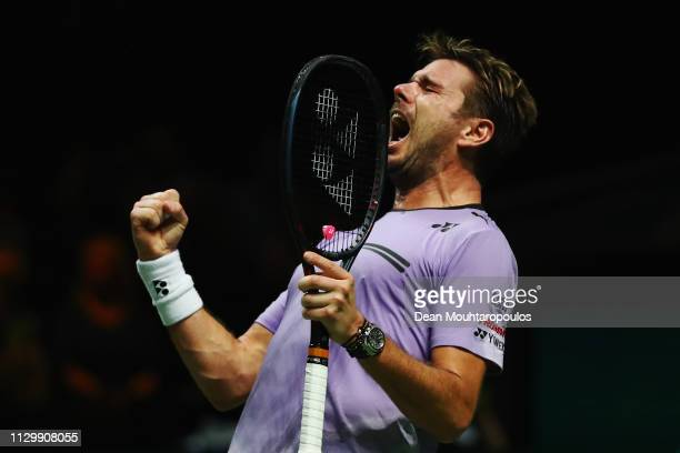 Stan Wawrinka of Switzerland celebrates his victory over Denis Shapovalov of Canada after their quarter final match during Day 5 of the ABN AMRO...