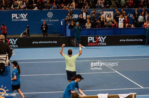 Stan Wawrinka of Switzerland celebrates his win durig 1/4 final match of DIEMAXTRA Sofia Open 2018 against Victor Troicki of Serbia 61 / 76 on...