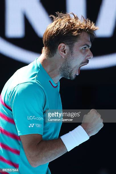 Stan Wawrinka of Switzerland celebrates in his quarterfinal match against JoWilfried Tsonga of France on day nine of the 2017 Australian Open at...
