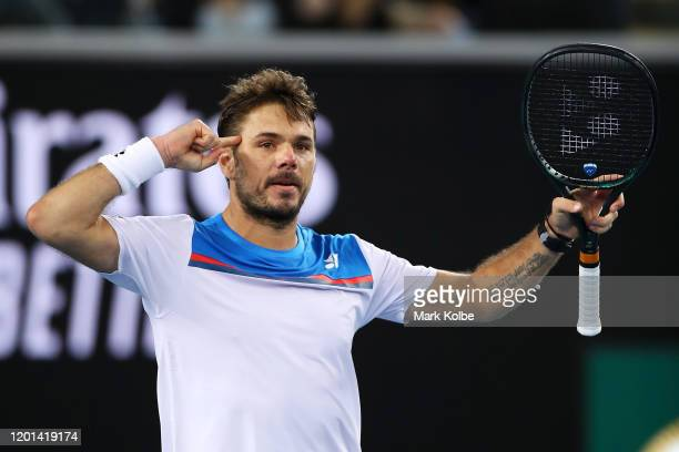 Stan Wawrinka of Switzerland celebrates match point during his Men's Singles second round match against Andreas Seppi of Italy on day four of the...